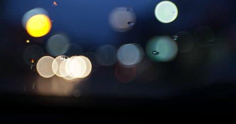 Defocused night traffic lights-in car at night in Bangkok THAILAND