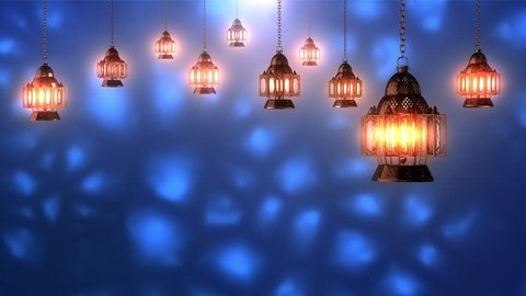 Rotating Lanterns with Blue Background