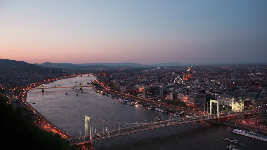 Time Lapse views of the capital city of Hungary In the sunset. | Shutterstock HD Video #1010537543