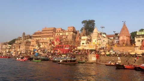 Varanasi / India 29 March 2018 Dashashwamedh Ghat is the main ghat in Varanasi on the Ganges River at Varanasi  Uttar Pradesh India