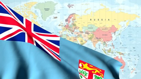 The Waving Flag Of The Fiji Islands Opens Up The View To The Position Of The Fiji Islands On A Colored World Map