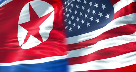 half north korea flag and half united states of america flag, crisis usa states diplomacy and north korea for nuclear atomic bomb risk war concept