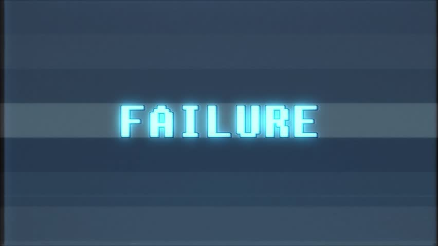 Retro videogame FAILURE word text computer old tv glitch interference noise screen animation seamless loop New quality universal vintage motion dynamic animated background colorful joyful video | Shutterstock HD Video #1010553773