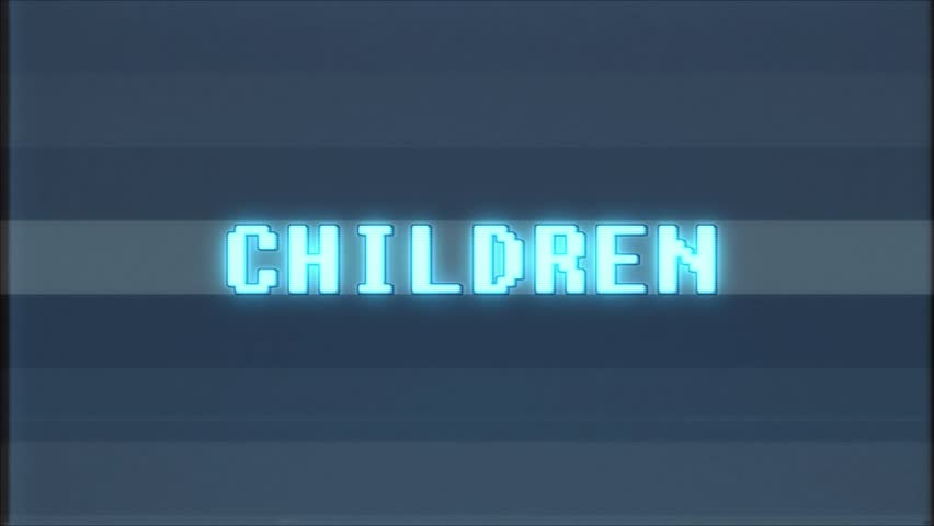 Retro videogame CHILDREN word text computer old tv glitch interference noise screen animation seamless loop New quality universal vintage motion dynamic animated background colorful joyful video | Shutterstock HD Video #1010553863