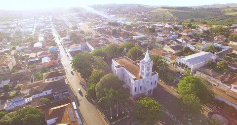 ITAMOGI, MINAS GERAIS, BRAZIL - APRIL 28, 2018: Aerial image of the small town of Itamogi.
