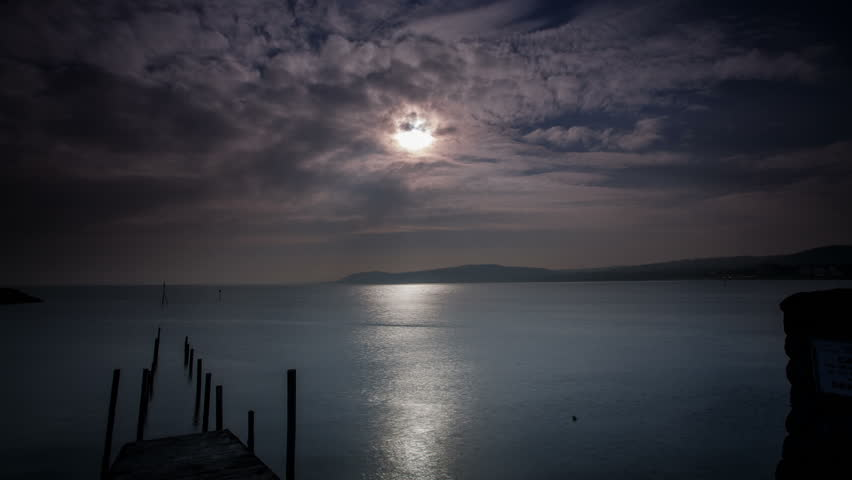 4k time lapse of solar eclipse behind clouds on the North Wales coast at Rhos-on-Sea