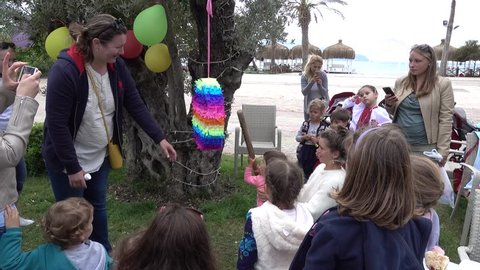 Fethiye, Turkey - 5th of April 2018: 4K Video compilation of pinata game from beginning till end