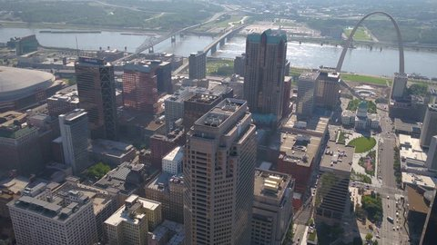 Aerial Missouri St Louis July 2017 Sunny Day 4K  Aerial video of St Louis in Missouri on a beautiful clear sunny day.