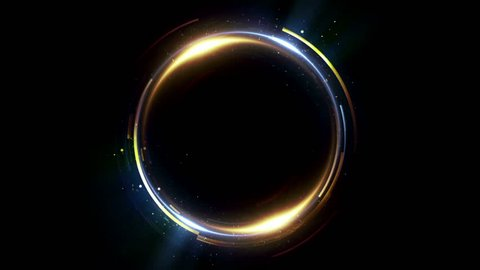 Abstract neon background. Shine ring. Halo around. Sparks particle.  Space tunnel. LED color ellipse. Glint glitter. Shimmer loop motion.  Empty hole. Glow portal. Gold ball. Slow spin. Bright disc.