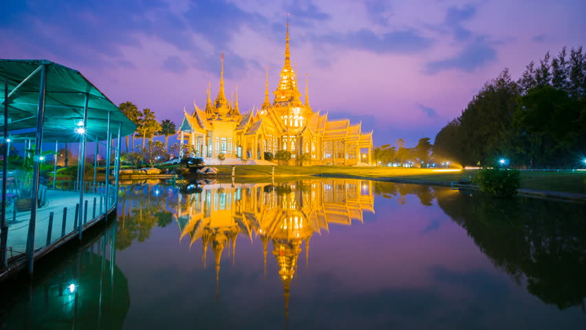 4k day to night Time-lapse of of Wat Luang Pho Toh temple or Wat Non Kum temple in Nakhon Ratchasima province, Thailand (The public anyone access)