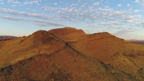 Aerial view of mountain in the Australian desert in Karijini NP.
