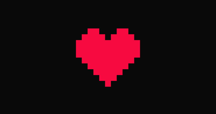 HD animation loop, can be used for Valentines or Mothers Day. Beating Red Graphic Heart Icon.