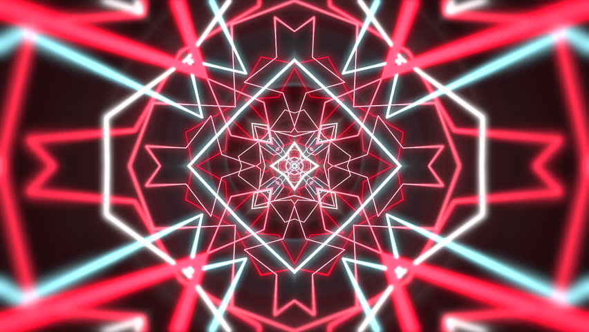 Psychedelic clip showing the formation of colorful white, red and blue shapes and lines on a black background for use as retro 1970 style backgrounds or general screen savers and wallpaper. | Shutterstock HD Video #10108025