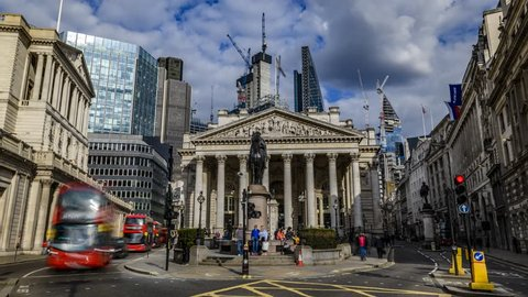 8k time lapse view of the Royal exchange  near the Bank of England, in the City of London