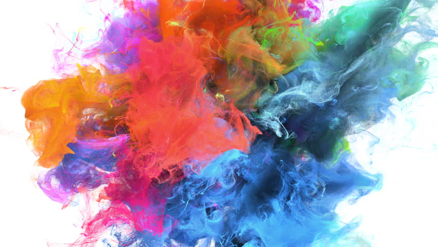 Color Burst - colorful blue magenta pink orange yellow green cyan smoke explosion fluid gas ink particles slow motion alpha matte isolated on white | Shutterstock HD Video #1010872433