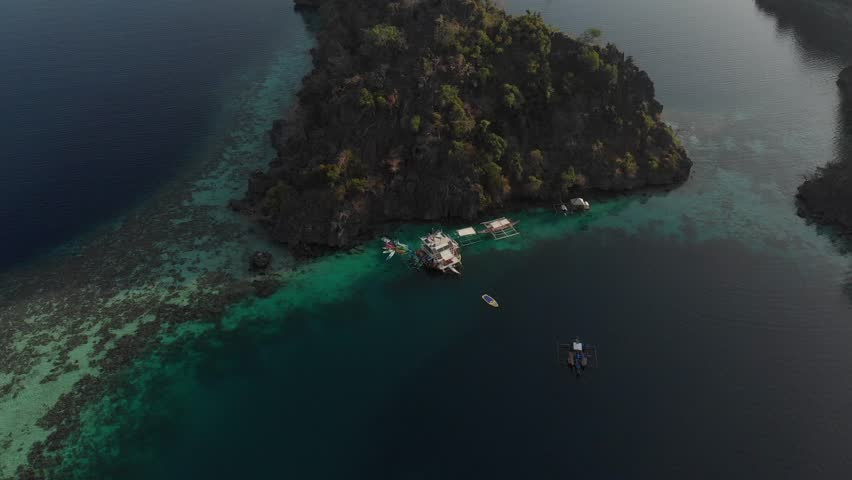 Aerial footage of boathouse - pan shot