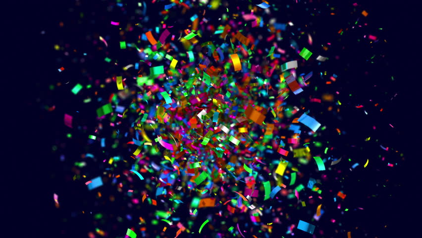 Colourful confetti boom in 4K