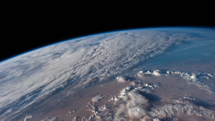 Beautiful time lapse of over the Earth from International Space Station behind a dusty window. Earth maps and images courtesy by Nasa. Zoom Out motion timelapse.