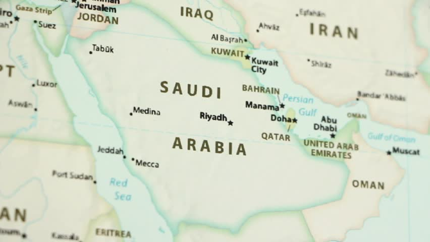 Saudi Arabia On A Political Map Of The World Video Defocuses Showing