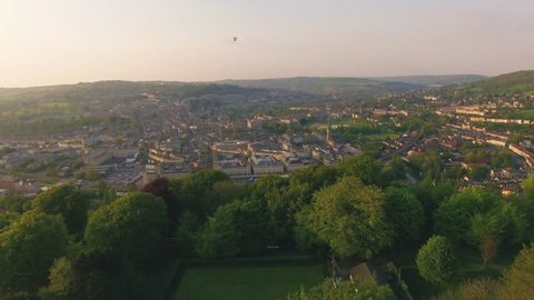 City of Bath (UK) Aerial Drone Footage of Historic Town & Countryside Surroundings at Sunset