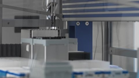 Medical tests, modern robotic machine, molecular genetic research laboratory, PCR. Automatic pipetting robot analyze DNA to find a treatment. Multishot