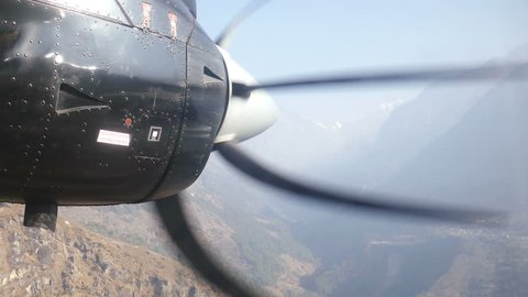 Airplane propeller on the backgrond of Solu Khumbu valley, the foot of the Everest peak.