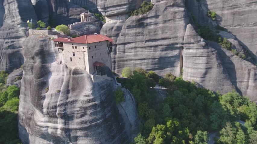 Flying over Monastery of Agios Nikolaos Anapafsas - Meteora in Greece
