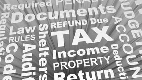 Tax Return Refund Accounting Words Collage 3d Render Animation