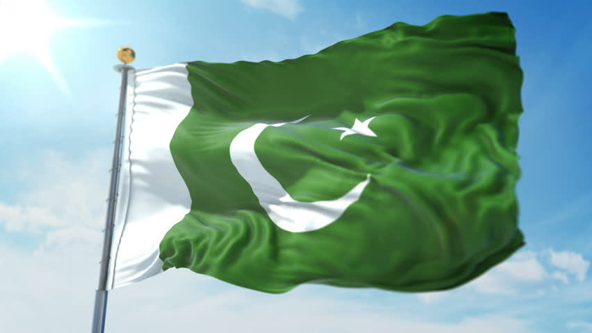Pakistan flag seamless looping 3D rendering video. Includes isolated on green screen and alpha channel as luma matte for easy clipping in AE. Beautiful detailed fabric loop waving in the wind