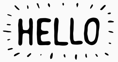 Hello Letters Scribble Animation Doodle/ Animation of doodled hello word with hand written letters blinking on white background