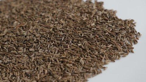 Meridian fennel seed heap 4K panning footage