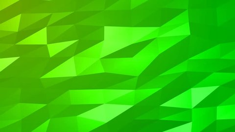 Loopable Abstract Green Low Poly 3D surface as CG background. Soft Polygonal Geometric Low Poly motion background of shifting Green polygons. 4K Fullhd seamless loop background render V82