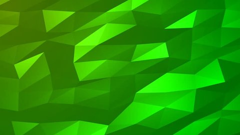 Loopable Abstract Green Low Poly 3D surface as CG background. Soft Polygonal Geometric Low Poly motion background of shifting Green polygons. 4K Fullhd seamless loop background render V89