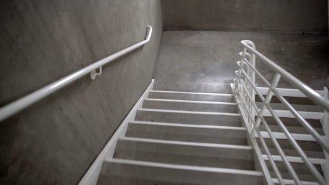 POV time lapse of frantically using an underground / parking garage stairwell