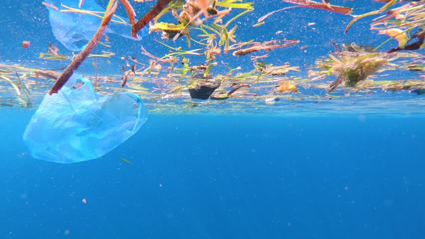 Drifting plastic bag pollution in the ocean surface