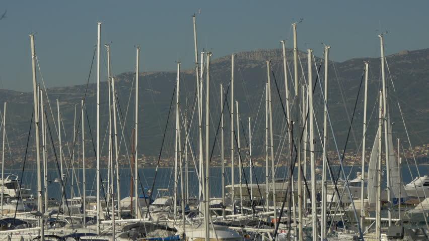 Split, Croatia- April, 2016: View of boat masts. | Shutterstock HD Video #1011140753
