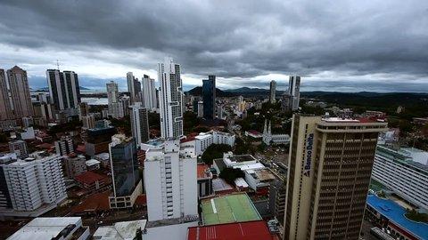 Panama, Central America - 10 January 2018. City skyline, Panama City, Aerial view of Panama city