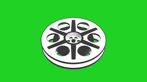3D Animation of Camera Film Reel, seamless Loop animation with green screen with different angles
