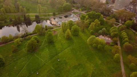 Aerial Hyde Park View in London from Above, Beautiful Nature in the Middle of the City at Summer Days