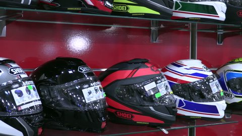 BUCHAREST, ROMANIA, 20 of April 2018; Motorcycle and accessories exhibition Different motorcycle helmets on display at motorcycle exhibition