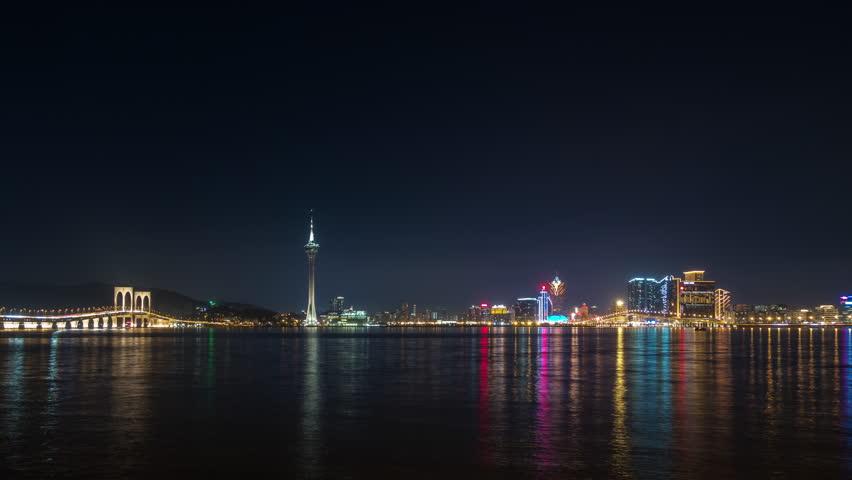 night illuminated famous macau city bay panorama 4k timelapse china