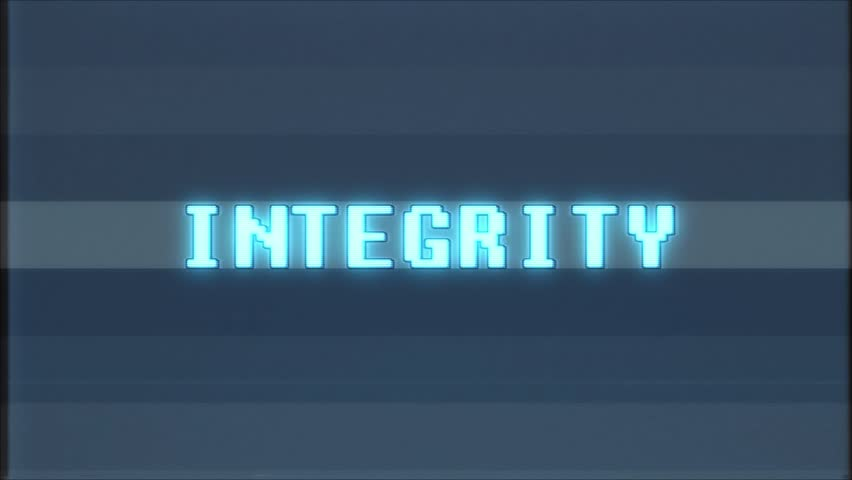 Retro videogame INTEGRITY word text computer tv glitch interference noise screen animation seamless loop New quality universal vintage motion dynamic animated background colorful joyful video m | Shutterstock HD Video #1011206303