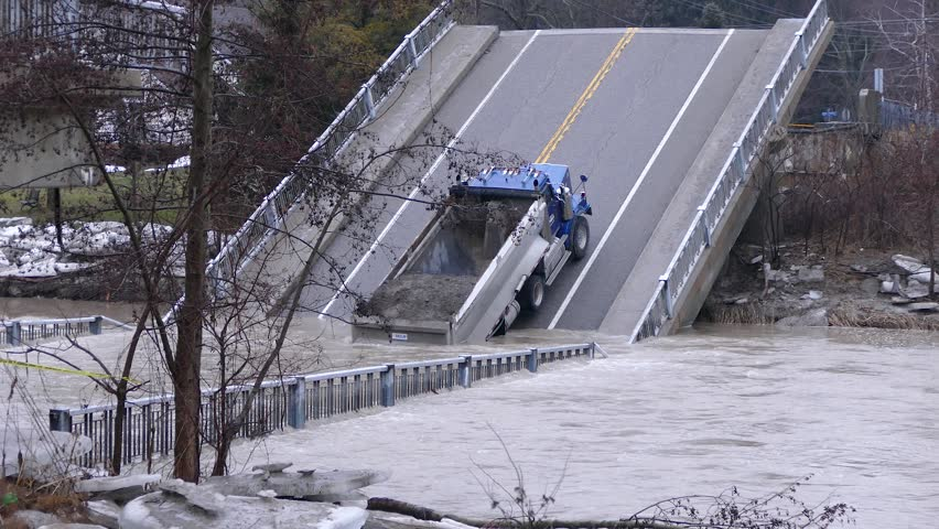 Port Bruce, Ontario, Canada March 2018 Bridge collapse into river during severe storm and flash flooding