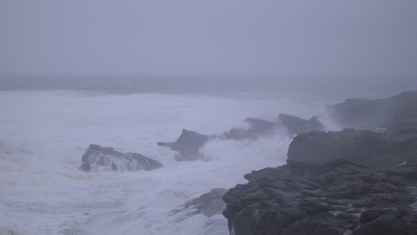 Slow-motion footage of waves violently crashing against rocks on the Oregon Coast. Shot on a Blackmagic Ursa Mini Pro 4.6k with a Sigma 50-100mm f/1.8.