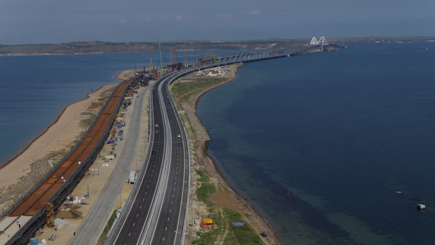 KERCH, RUSSIA, May 16, 2018: Aerial view of The Crimean Bridge, Kerch Bridge, colloquially the Kerch Strait Bridge with road and rail passages across the Kerch Strait, which will connect the Taman