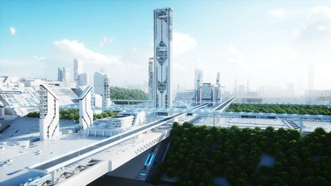 Futuristic city, town. The concept of the future. Aerial view. Realistic 4k animation.