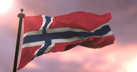 Norway flag waving at wind at sunset in slow, loop
