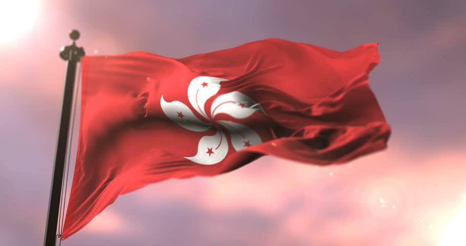 Flag of Hong Kong waving at wind at sunset, loop | Shutterstock HD Video #1011292883