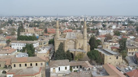 Cyprus KKTC Drone Nicosia Lefkosa City and Mosque Airview Historical Old Minaret
