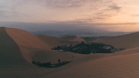 Time Lapse of Sand Dunes Desert Oasis at Sunrise